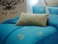 TEAL/GOLD GLAMOUR QUILT COVER & PILLOW CASES BED PACK, QUEEN BED, 3 PIECE SET