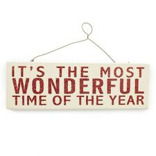 IT'S THE MOST WONDERFUL TIME OF YEAR  HANGING SIGN RED & WHITE GLITTER EFFECT