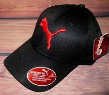 MENS PUMA STRETCH FIT FITTED BLACK RED MESH HAT CAP SIZE L/XL