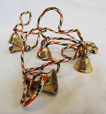 String of Six Hand Made Indian Brass Bells / Door Alarm / Hanging