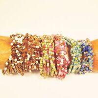 6PC Handmade Beaded Brite Color Stretch Elastic Bracelets WHOLESALE LOT 6 Colors