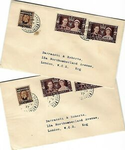 MOROCCO 1937 CORONATION OF KGVI PAIR ON DERRACOTT/ROBERTS FDC - CASABLANCA CDS