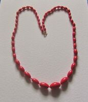 """GRADUATED SINGLE STRAND RED OPAQUE GLASS oval BEAD NECKLACE 23"""" PRL CZECH"""