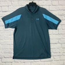 New listing Under Armour HeatGear Loose Fit Golf Polo Men's XL S/S Solid Gray Blue Accents