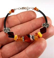 6-6,9 IN Vintage Elegant Genuine Baltic Amber Mixed Bracelet Tibet Silver 0016