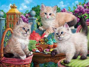 KITTEN TEA PARTY by Image World - SunsOut 500 piece puzzle CATS - NEW