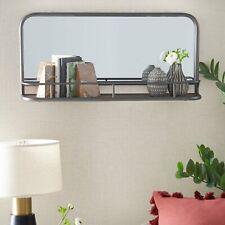 Gunmetal Wall Mirror with Shelf