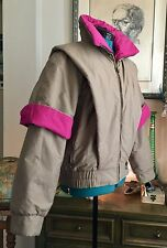 Rare VTG Bogner Ski Jacket Winter Puffer Coat Colorblock Beige & Fuchsia 10 USA
