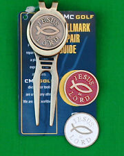 3 Jesus is Lord Golf ball markers + 1 brass divot tool