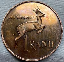 UNIQUE 1967 South Africa 1 Silver Rand Dr. H.F Verwoerd BURNT ORANGE TONING UNC