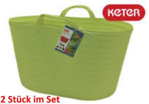 Flexi Korb Wäschekorb-Einkaufskorb-Aufbewahrung-Garten Multikorb Limette 2x43 L