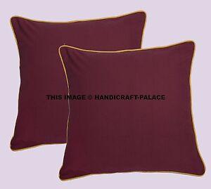 "Indian Plain Solid Pillow Throw Home Decor Cotton Cushion Cover Sofa Pillow 16"""