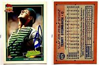 Terry Steinbach Signed 1991 Topps #625 Card Oakland Athletics Auto Autograph