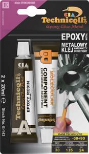TECHNICQLL METAL EPOXY GLUE FOR STEEL IRON BRONZE BRASS LIQUID METAL 2x20ml