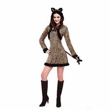 Leopard Sexy Adult Women's Cat Hooded Dress Costume  Large 12-14