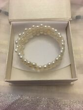 Bella Pearls 3 Row White Freshwater Pearl Bangle Bracelet Adjustable