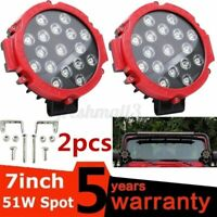 2X 7'' Round LED Work Light Bar Spot Flood Fog Driving Lamp Offroad SUV