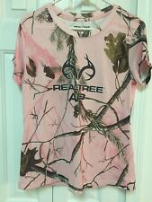 Womens Jrs Real Tree AP Pink Camo Athletic Shirt Top M Medium Woods Camouflage
