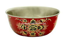 Hand Painted Flower Stainless Steel Bowl Food Water Bowl Drinking Decor Bowl Cup