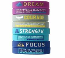 Motivational Positive Silicone Rubber Wristband Bracelet Present [4 Wristbands]
