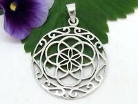 Blume des Lebens Anhänger 925 Sterling Silber Ø 2,9 cm Mandala Lebensblume