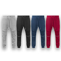 Mens Casual Slim Fit Ripped french terry joggers