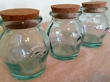 NEW 100% Recycled Glass Jars Vintage Style (Set of 3/8.5 oz.) Handmade in Spain