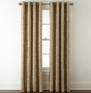 Royal Velvet Plaza Embroidery Grommet Panel 50 W x 84 L Traditional Tan