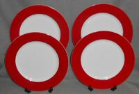 Set (4) Crate & Barrel RED BAND PATTERN Dinner Plates WHITE TRIM