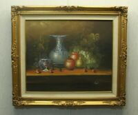 Vintage Still Life Oil Painting Vase Apples Pears Grapes Gold Leaf Frame 32 x 28