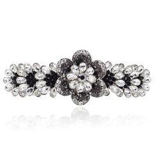 Clear White & Black Crystal Rhinestone Plum Flower Alloy Barrette Hair Clip