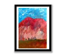 Ayers rock  acrylic landscape abstract painting unique gift (print) ID : 1475