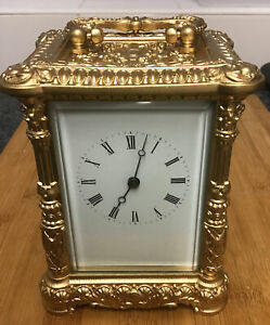 Antique Style Baroque Louise 14th Style Gold Chiming Striking Carriage Clock