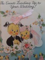 MCM Vtg ANTHROPOMORPHIC Bride Groom PUPPY Multi Pg WEDDING EVENTS GREETING CARD
