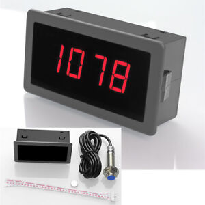 Car Auto 4 Digital Motor Red LED Tachometer RPM Speed Measure Gauge Meter 0-9999