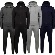 MENS TRACKSUIT SET FLEECE HOODIE TOP & BOTTOMS JOGGERS GYM PLAIN POCKETS NEW