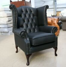 GEORGIAN CHESTERFIELD QUEEN ANNE WING BACK CHAIR ITALIAN BLACK LEATHER BONDED