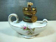 Vintage Miniature Aladdin Oil Lamp Kerosene with Roses Japan