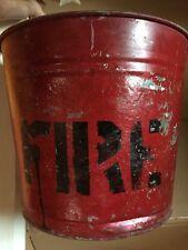 Vintage Red Fire Bucket Round Bottom (C)