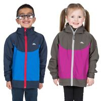 Trespass Novah Boys Girls Waterproof Jacket Raincoat in Blue & Pink With Hood