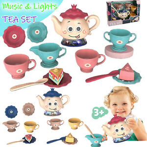Kids Plastic Tea Party Set for Pretend Play Toy Educational w/ Music & Lights
