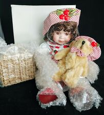 Nib Porcelain Doll Toy Baby Girl Collectible Teddy Bear Picnic Basket Bisque