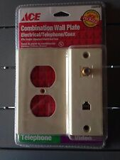 Ace Combo ELECTICAL/PHONE/COAX Combo WALL PLATE 4 Conductor Ivory-NEW-3102670