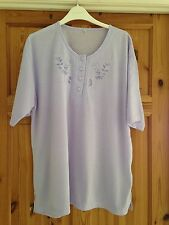 BNWOT Ladies Pretty Lilac Floral Embroidered Short Sleeved Top Size XXL