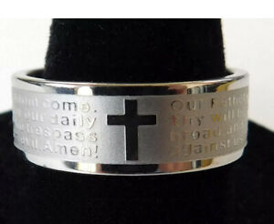 29 x Kids Stainless Steel Bible Lord's Prayer Cross Ring English & Portuguese