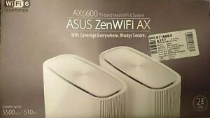 Asus ZenWiFi AX (XT8) AX6600 Whole Home Mesh WiFi 6 System - White (2-Pack)