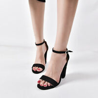 Women Lady Suede Embroidered Ankle Strap open toe Block Heels Shoes Sandals New
