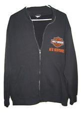 Harley Davidson Motorcycle Mens L Black Sweatshirt Jacket Full Zip New Hampshire