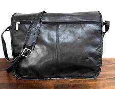 Wilsons Leather BLACK LEATHER FLAP LAPTOP SHOULDER BAG PAPER ORGANIZER BRIEFCASE