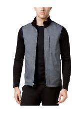 Alfani Mens Reversible Stretch Outerwear Vest (Deep Black, 3XL)
